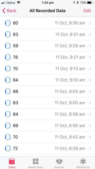 Heart Rate Data - Each Instance